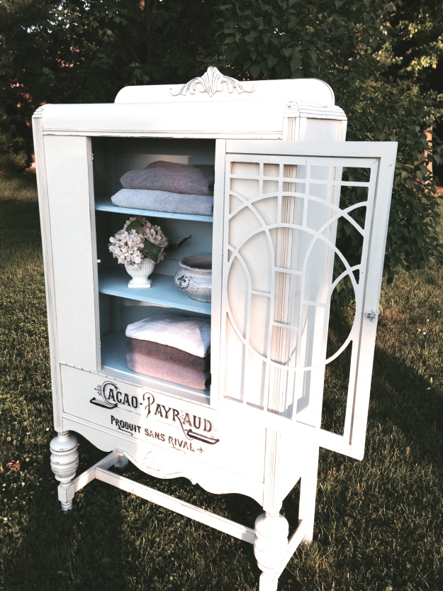 vintage china cabinet in white with french typography