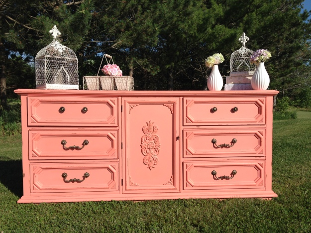 shabby chic coral buffet