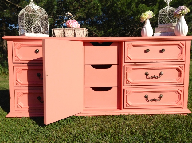 coral shabby chic buffet