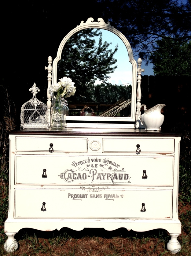 shabby chic french typography dresser