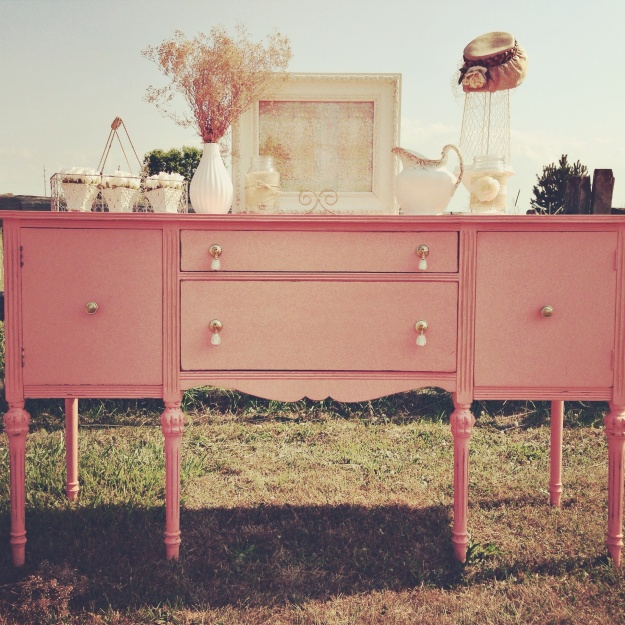 Shabby chic inspired buffet table in coral